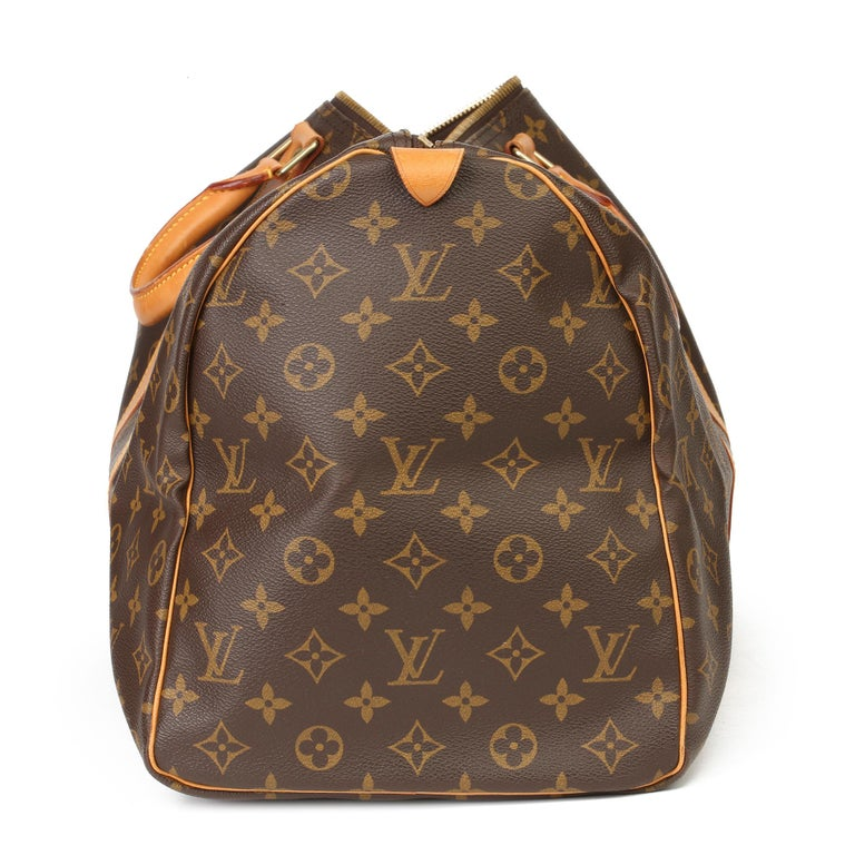 Louis Vuitton Brown Monogram Coated Canvas & Vachetta Leather Vintage Keepall 50 In Excellent Condition For Sale In Bishop's Stortford, Hertfordshire