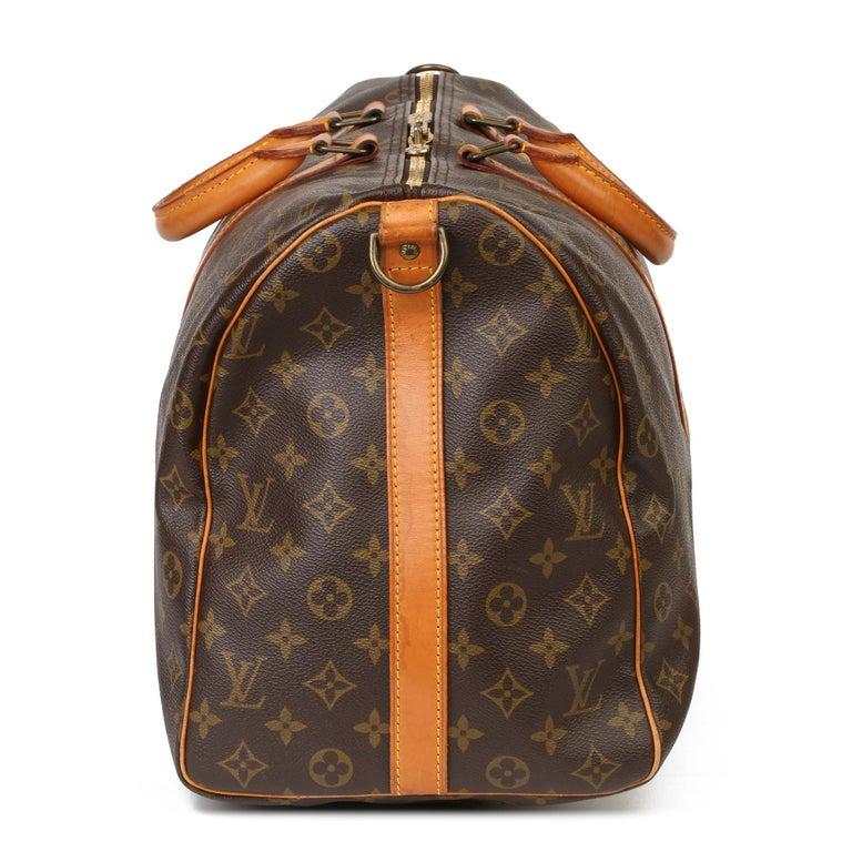 Black Louis Vuitton Brown Monogram Coated Canvas & Vachetta Leather Vintage Keepall 50 For Sale