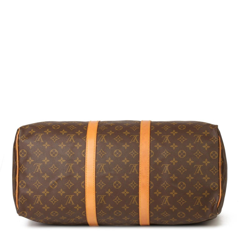 Women's or Men's Louis Vuitton Brown Monogram Coated Canvas & Vachetta Leather Vintage Keepall 50 For Sale