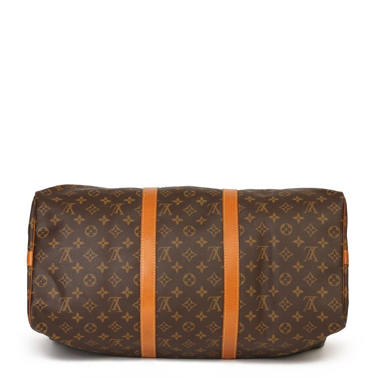 Louis Vuitton Brown Monogram Coated Canvas & Vachetta Leather Vintage Keepall 50 For Sale 1