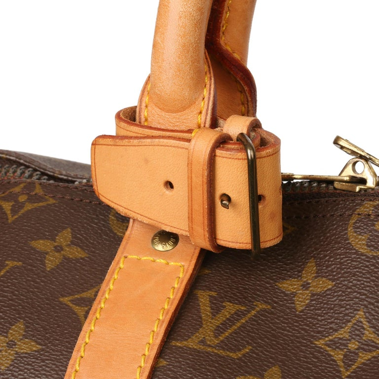 Louis Vuitton Brown Monogram Coated Canvas & Vachetta Leather Vintage Keepall 50 For Sale 2