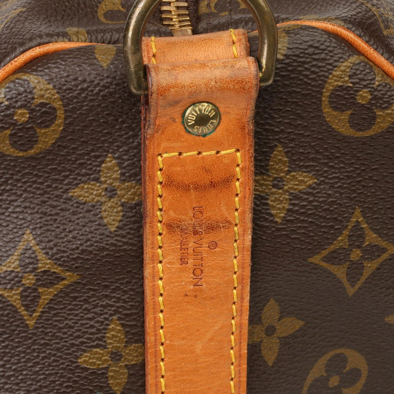 Louis Vuitton Brown Monogram Coated Canvas & Vachetta Leather Vintage Keepall 50 For Sale 3