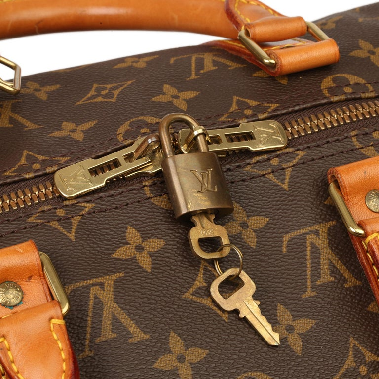 Louis Vuitton Brown Monogram Coated Canvas & Vachetta Leather Vintage Keepall 50 For Sale 4