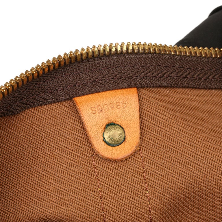 Louis Vuitton Brown Monogram Coated Canvas & Vachetta Leather Vintage Keepall 50 For Sale 5