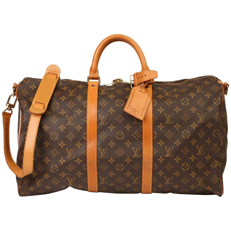 Louis Vuitton Brown Monogram Coated Canvas & Vachetta Leather Vintage Keepall 50 For Sale