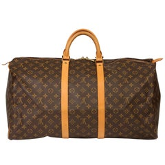 Louis Vuitton Brown Monogram Coated Canvas & Vachetta Leather Vintage Keepall 55