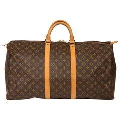 Louis Vuitton Brown Monogram Coated Canvas & Vachetta Vintage Keepall 55