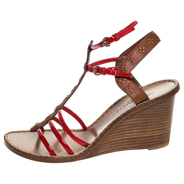 Louis Vuitton Brown Monogram Embossed Leather And Red Wedge Sandals Size 40 For Sale