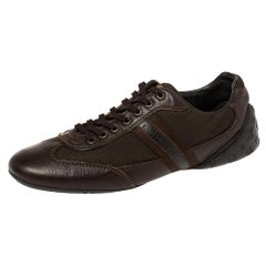 Louis Vuitton Brown Monogram Embossed Leather Lace Up Sneakers Size 42