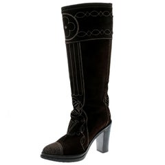 Louis Vuitton Brown Monogram Embossed Suede Mid Calf Buckle Detail Boots Size 39