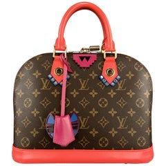 LOUIS VUITTON Brown Monogram Flamingo Pink Totem ALMA PM Bag