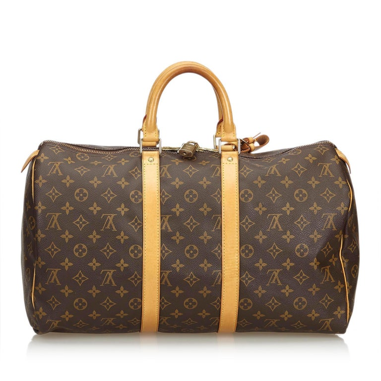 Louis Vuitton Brown Monogram Keepall 45 In Good Condition For Sale In Orlando, FL