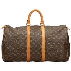 Louis Vuitton Brown Monogram Keepall 50