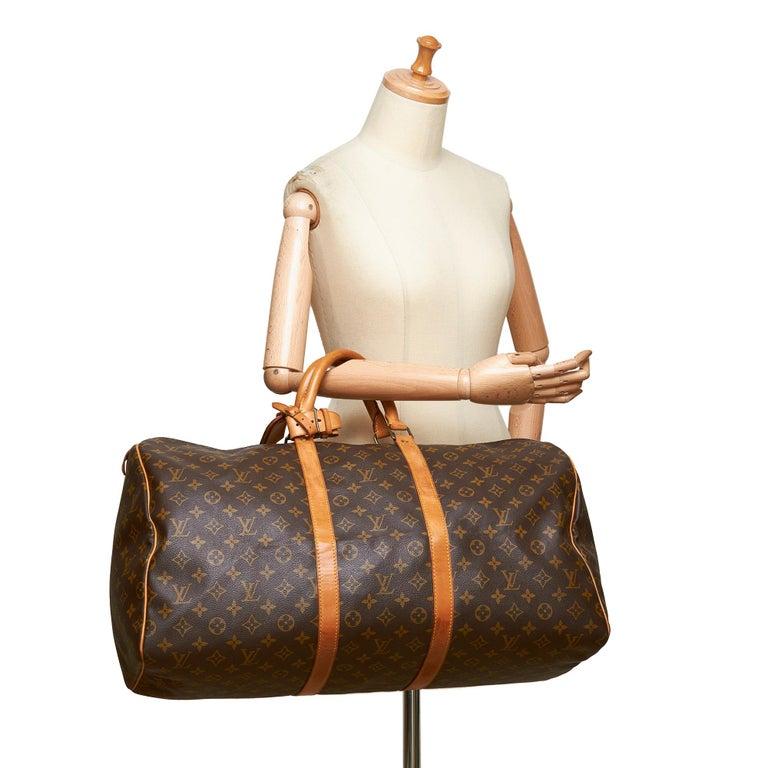 Louis Vuitton Brown Monogram Keepall 55 For Sale 13
