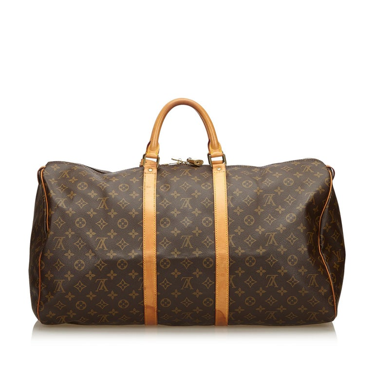 Louis Vuitton Brown Monogram Keepall 55 In Good Condition For Sale In Orlando, FL