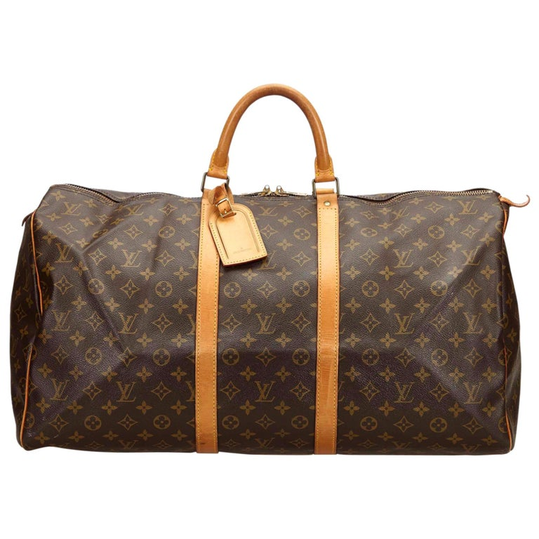 Louis Vuitton Brown Monogram Keepall 55 For Sale