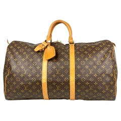 Louis Vuitton Brown Monogram Keepall 55 Weekend Bag
