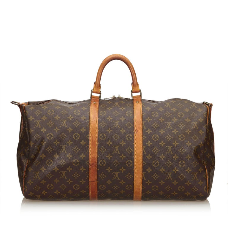 Louis Vuitton Brown Monogram Keepall Bandouliere 55 In Good Condition For Sale In Orlando, FL