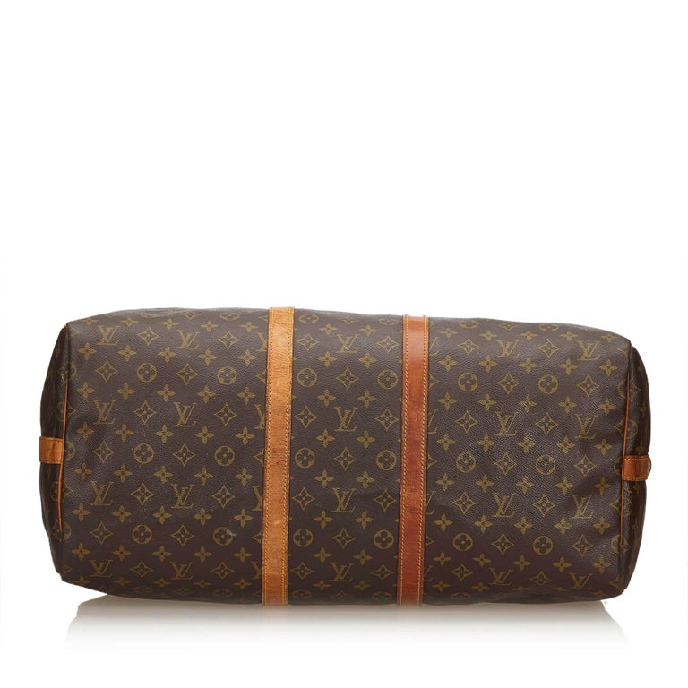 Women's Louis Vuitton Brown Monogram Keepall Bandouliere 55 For Sale