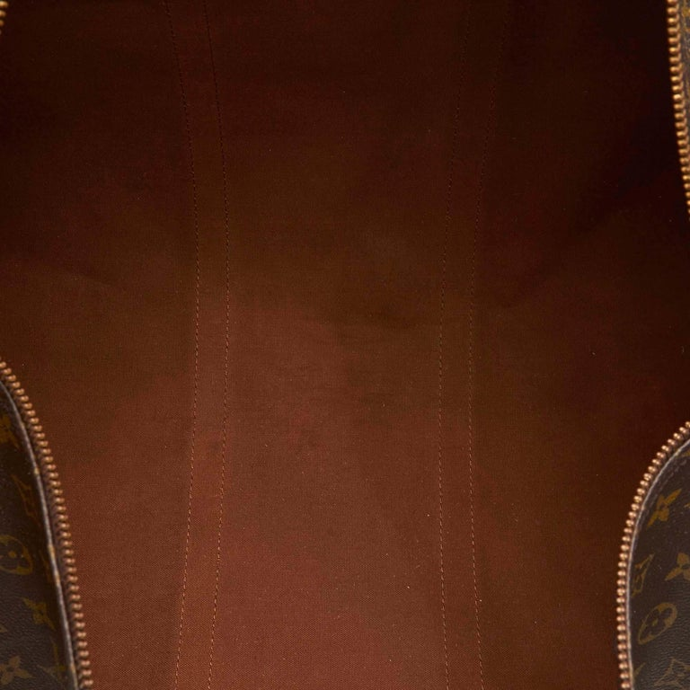 Louis Vuitton Brown Monogram Keepall Bandouliere 55 For Sale 1