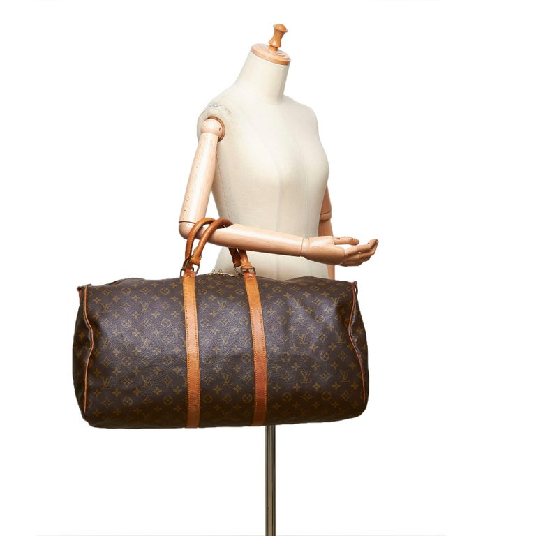 Louis Vuitton Brown Monogram Keepall Bandouliere 55 For Sale 5