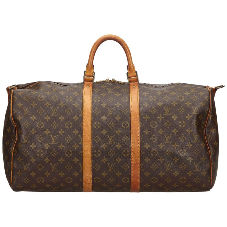 Louis Vuitton Brown Monogram Keepall Bandouliere 55 For Sale