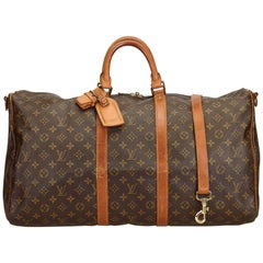 Louis Vuitton Brown Monogram Keepall Bandouliere 55