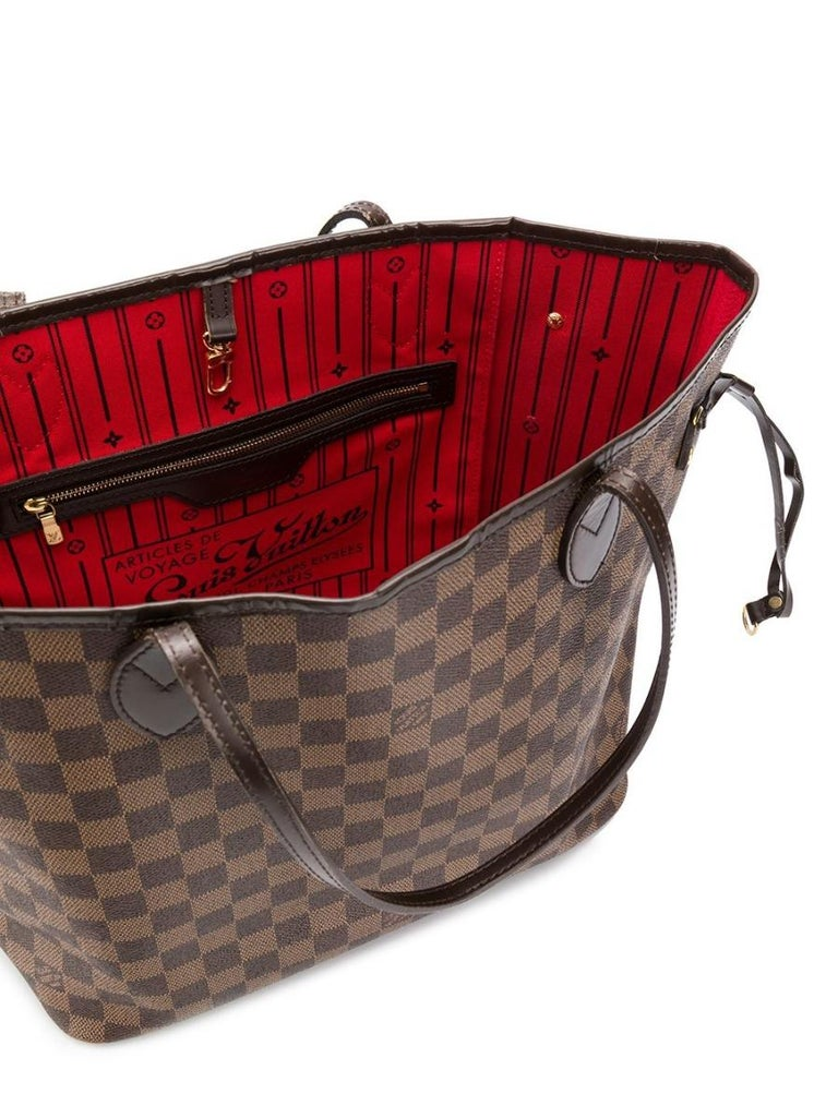 Women's Louis Vuitton Brown Monogram Neverfull MM Tote Bag For Sale