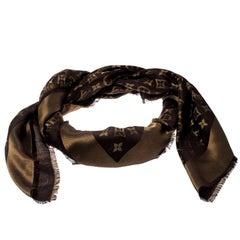 Louis Vuitton Brown Monogram Silk and Wool Shine Shawl