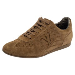 Louis Vuitton Brown Perforated Suede Low Top Sneakers Size 36