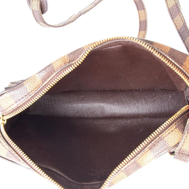 LOUIS VUITTON brown POCHETTE MARLY BANDOULIERE DAMIER Crossbody Bag In Excellent Condition For Sale In Zürich, CH