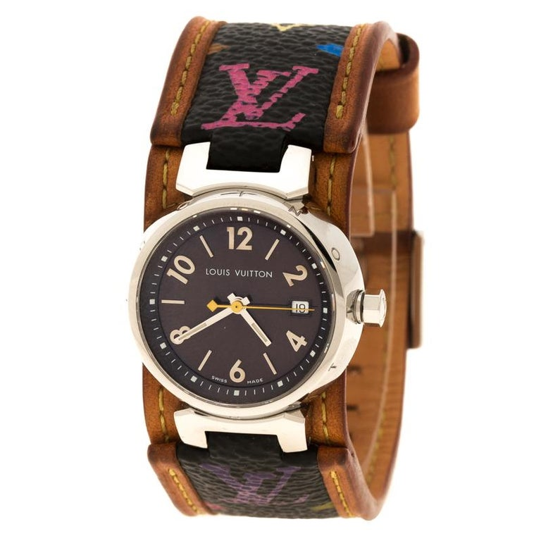 0b8aa83ea568 Louis Vuitton Brown Q1211 Tambour Women s Wristwatch For Sale at 1stdibs