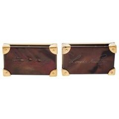 Louis Vuitton Brown Signature Rectangular Cufflinks