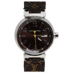 Louis Vuitton Brown Stainless Steel Monogram Leather Women's Wristwatch 34mm
