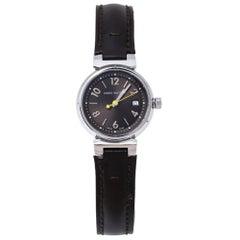 Louis Vuitton Brown Stainless Steel Tambour Q1211 Women's Wristwatch 28 mm