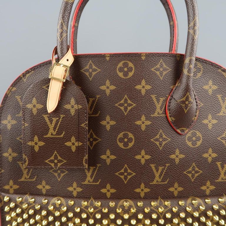 f0a333dbae8 LOUIS VUITTON Brown Studded Monogram Iconoclasts Christian Louboutin Handbag