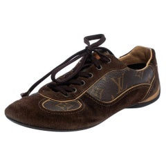 Louis Vuitton Brown Suede And Monogram Canvas Energie Sneakers Size 38.5