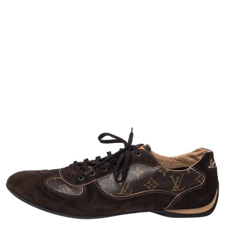 Designed to be durable, these Energie sneakers from Louis Vuitton are made from monogram canvas and suede trim. Well-padded and comfortable, they are the ideal option for a day on your feet. Rounded toe caps ensure plenty of room for a snug fit.