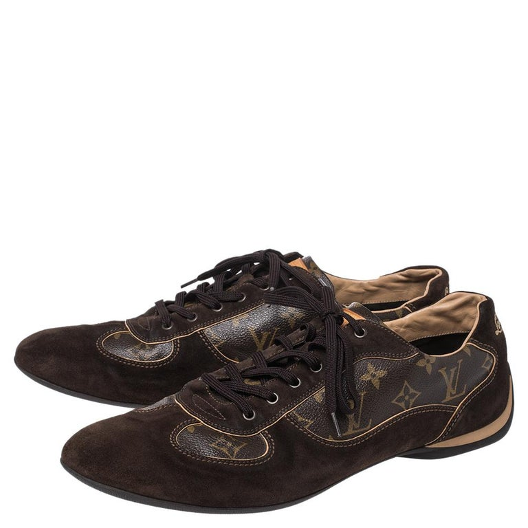 Black Louis Vuitton Brown Suede And Monogram Canvas Energie Sneakers Size 46 For Sale