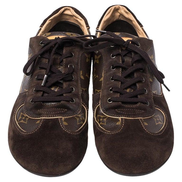 Louis Vuitton Brown Suede And Monogram Canvas Energie Sneakers Size 46 In Good Condition For Sale In Dubai, Al Qouz 2