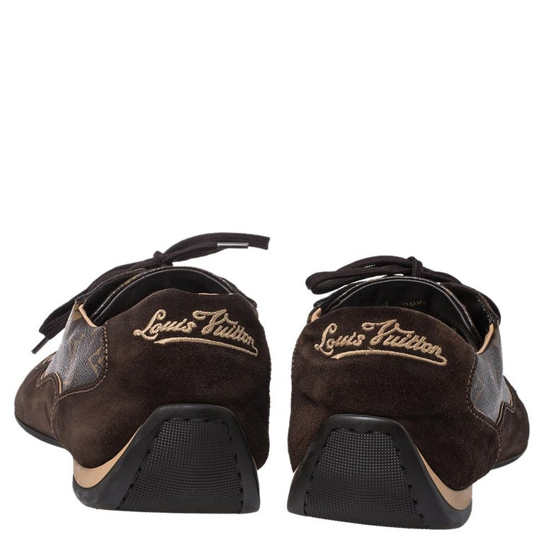 Louis Vuitton Brown Suede And Monogram Canvas Energie Sneakers Size 46 For Sale 1
