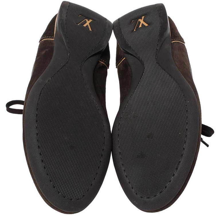 Louis Vuitton Brown Suede And Monogram Canvas Energie Sneakers Size 46 For Sale 2
