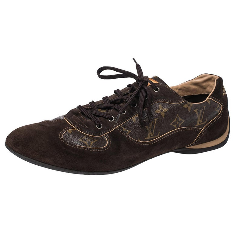 Louis Vuitton Brown Suede And Monogram Canvas Energie Sneakers Size 46 For Sale