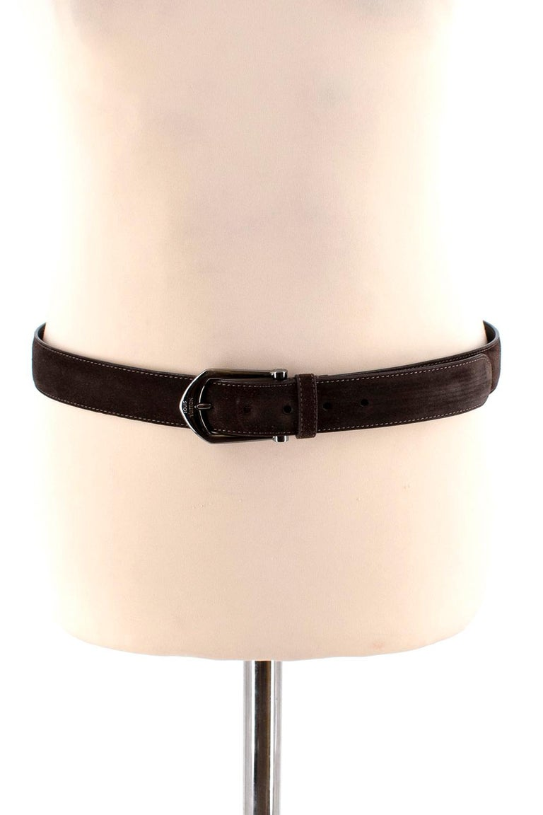Louis Vuitton Brown Suede Belt with Graphite Buckle  For Sale 5