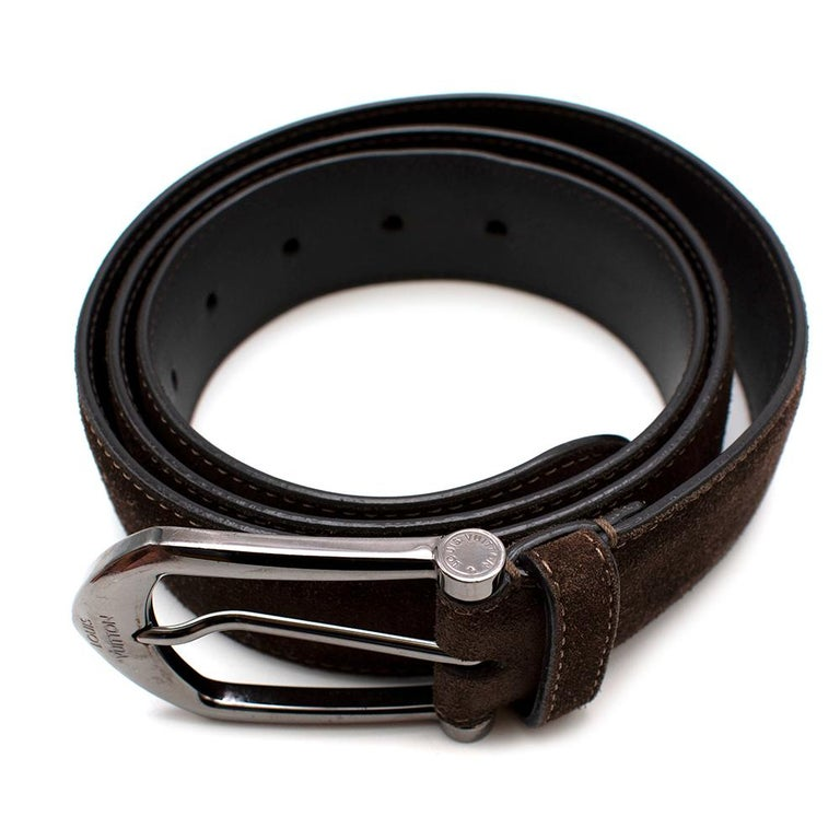 Louis Vuitton Brown Suede Belt with Graphite Hardware   -Glossy graphite hardware -Branded buckle  -Brown leather lining  -Great velvet like texture  -Perforated with 5 holes   Materials:  Main- suede Lining- leather  Made in Spain   Length- 120 cm