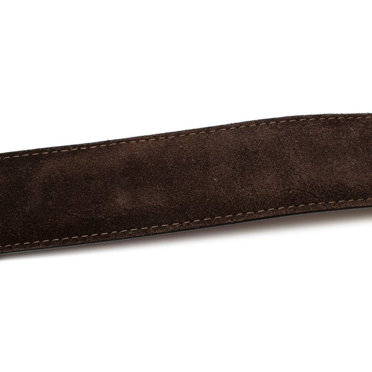 Louis Vuitton Brown Suede Belt with Graphite Buckle  In Good Condition For Sale In London, GB