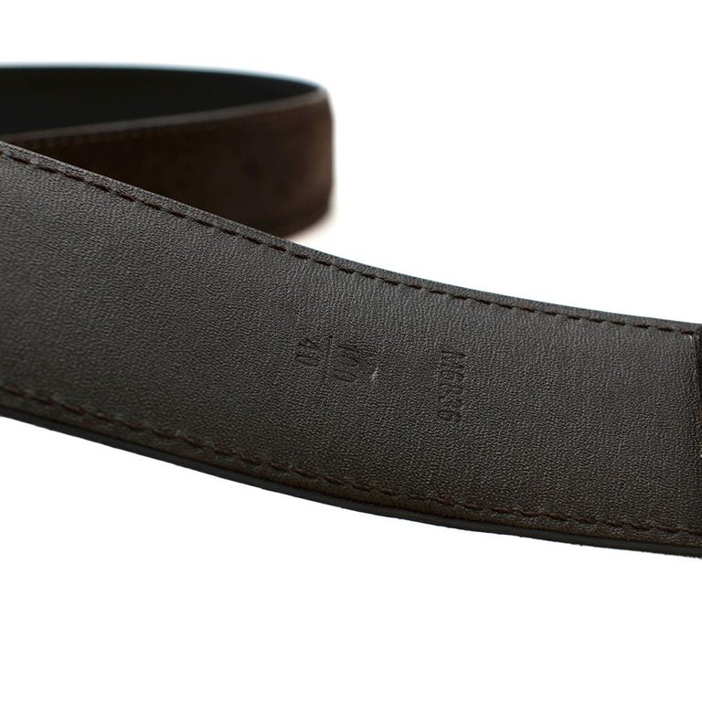 Women's or Men's Louis Vuitton Brown Suede Belt with Graphite Buckle  For Sale