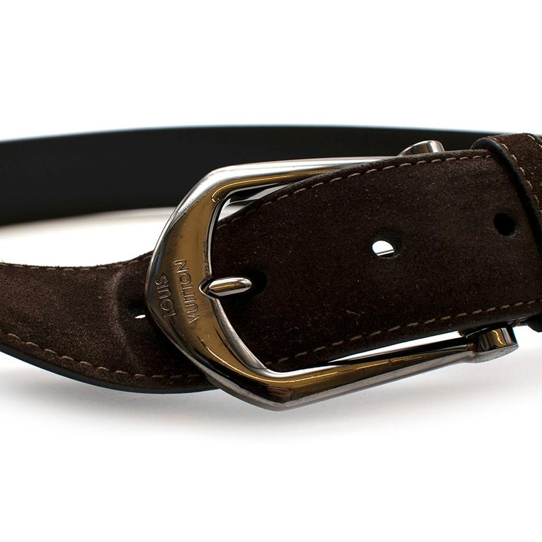 Louis Vuitton Brown Suede Belt with Graphite Buckle  For Sale 2