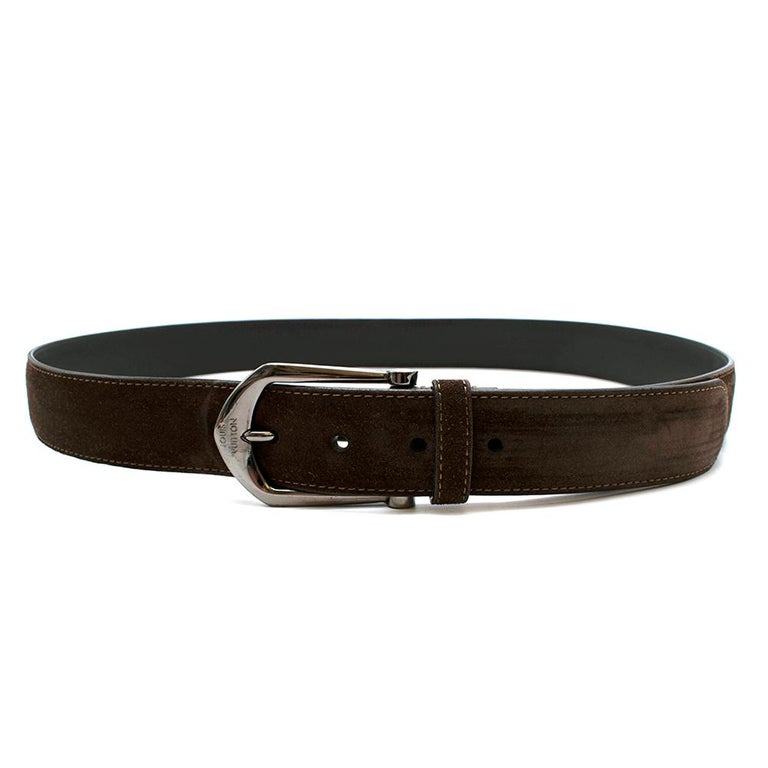 Louis Vuitton Brown Suede Belt with Graphite Buckle  For Sale 4