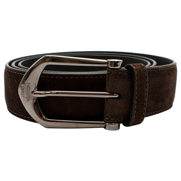 Louis Vuitton Brown Suede Belt with Graphite Buckle  For Sale